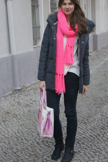 bright pink scarf