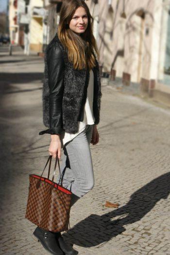 faux fur vest x leather jacket