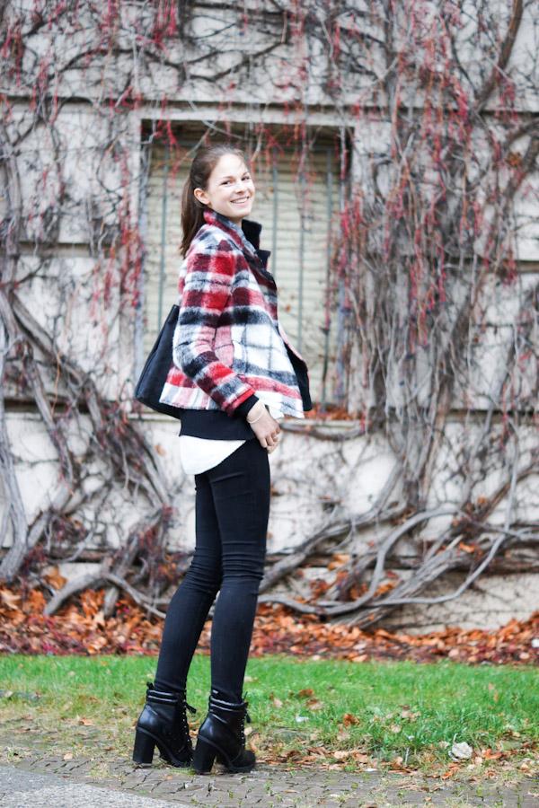 red white black checkered wool coat