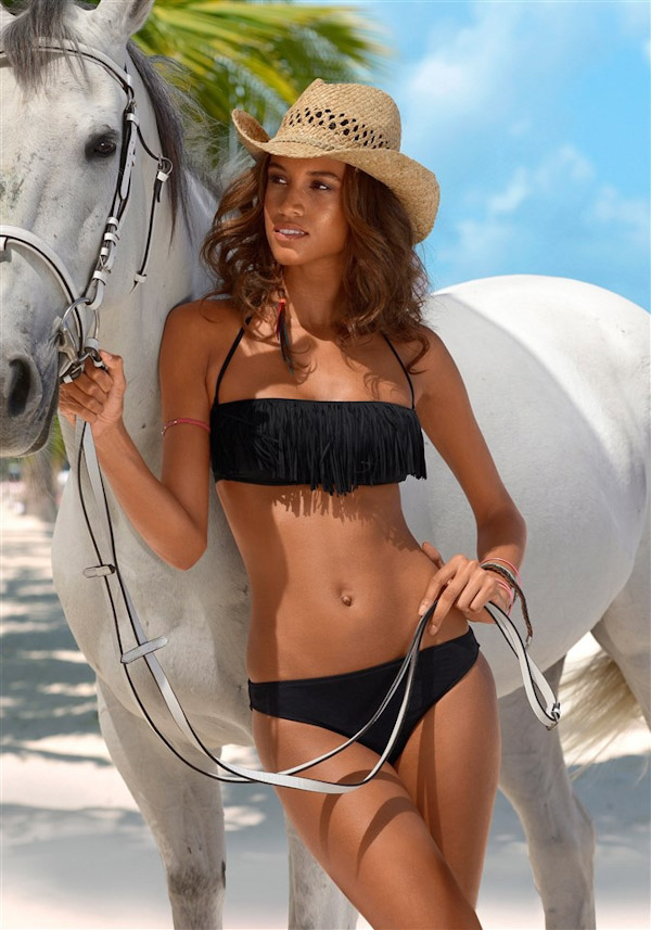 String accents are a standout style for We are seeing this detailing replace the back of tops and sides of bikini bottoms. Creating a high impact look, this trend has given a long awaited upgrade to the simple bandeau top and string bottom.
