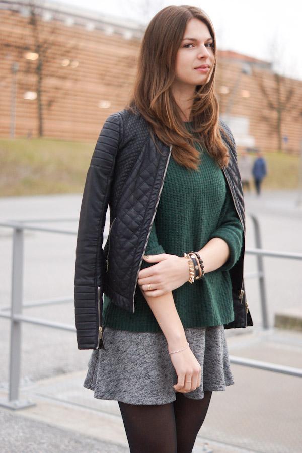 Materialmix mit Leder und Wolle