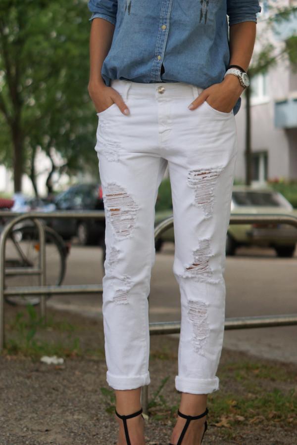 weiße boyfriend jeans