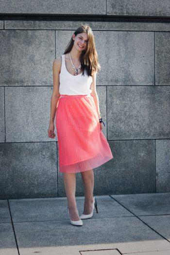 Plisse Mesh Midi Skirt