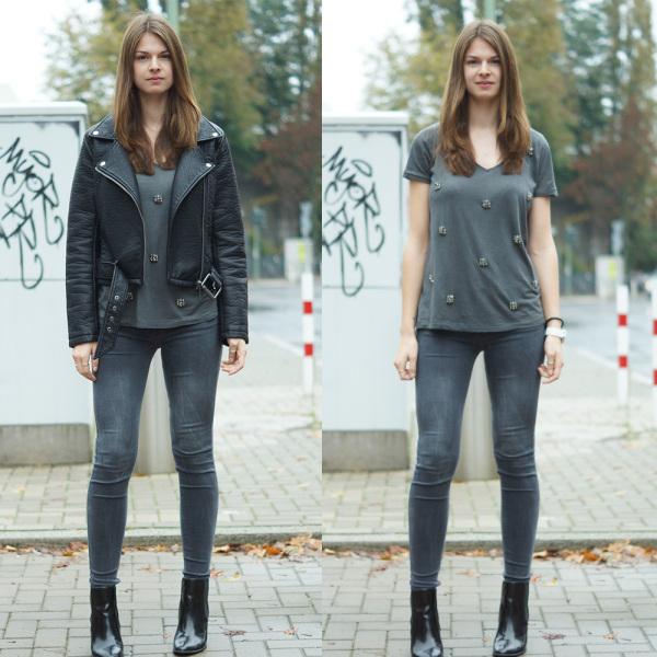 Outfit mit und ohne Lederjacke im Vergleich