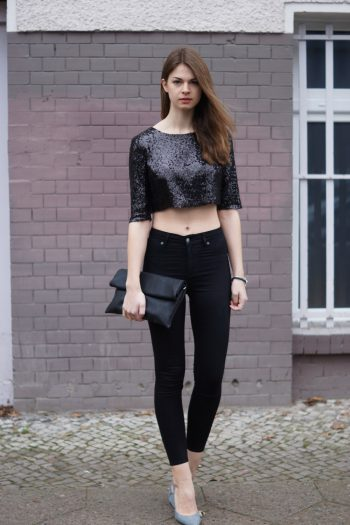Festliches Outfit: Pailletten-Top