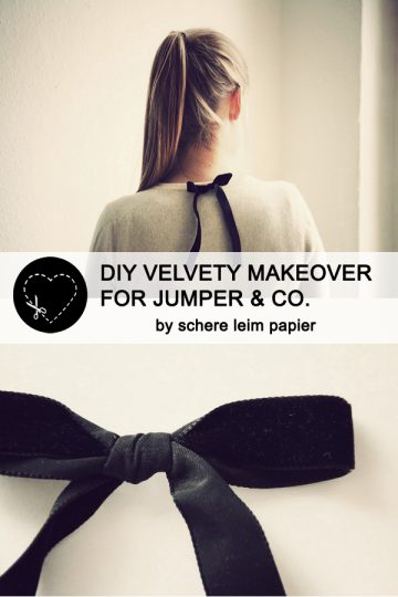 DIY velvety makeover for jumper & Co. by schere leim papier