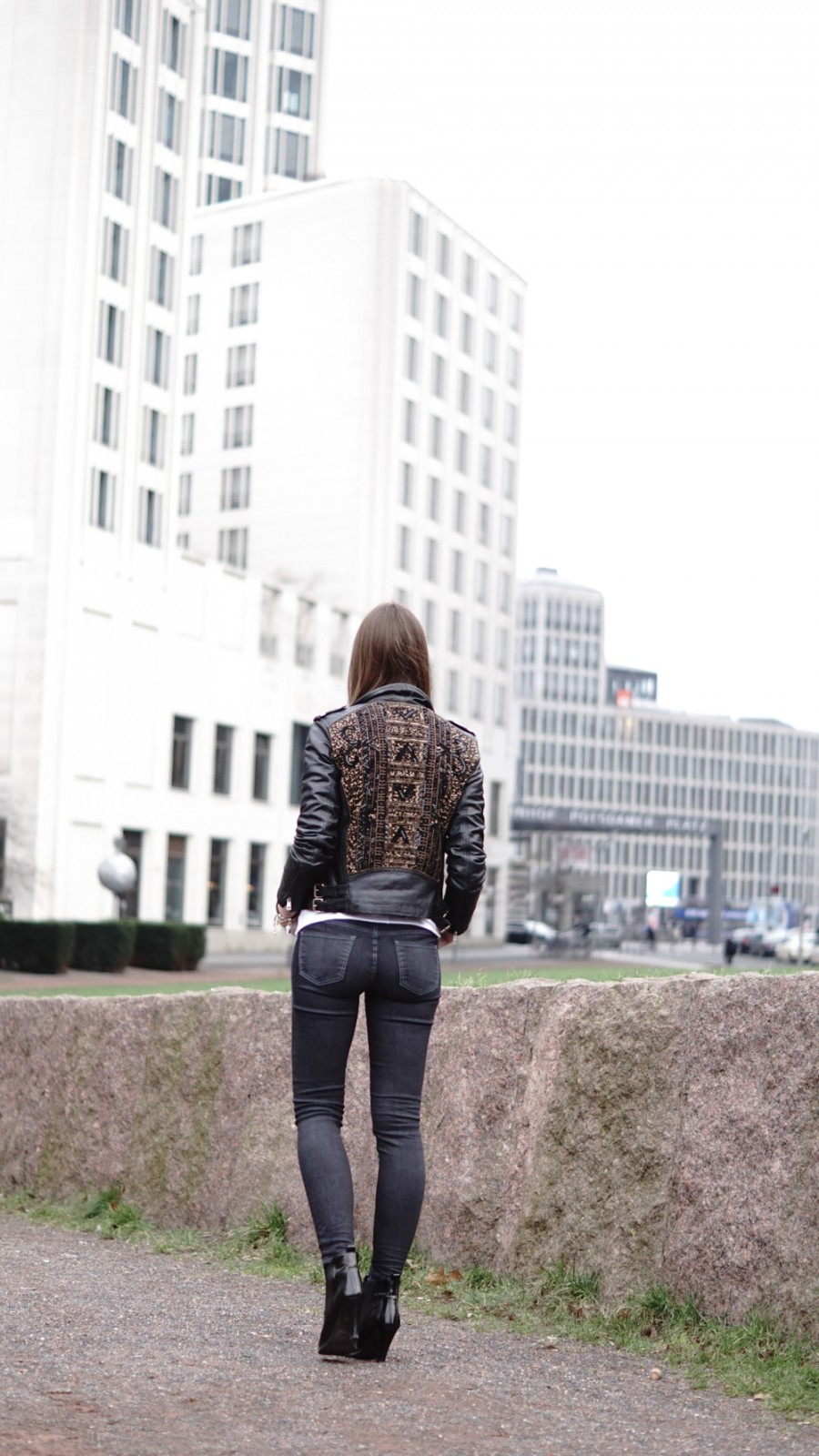 Leather jacket with sequins