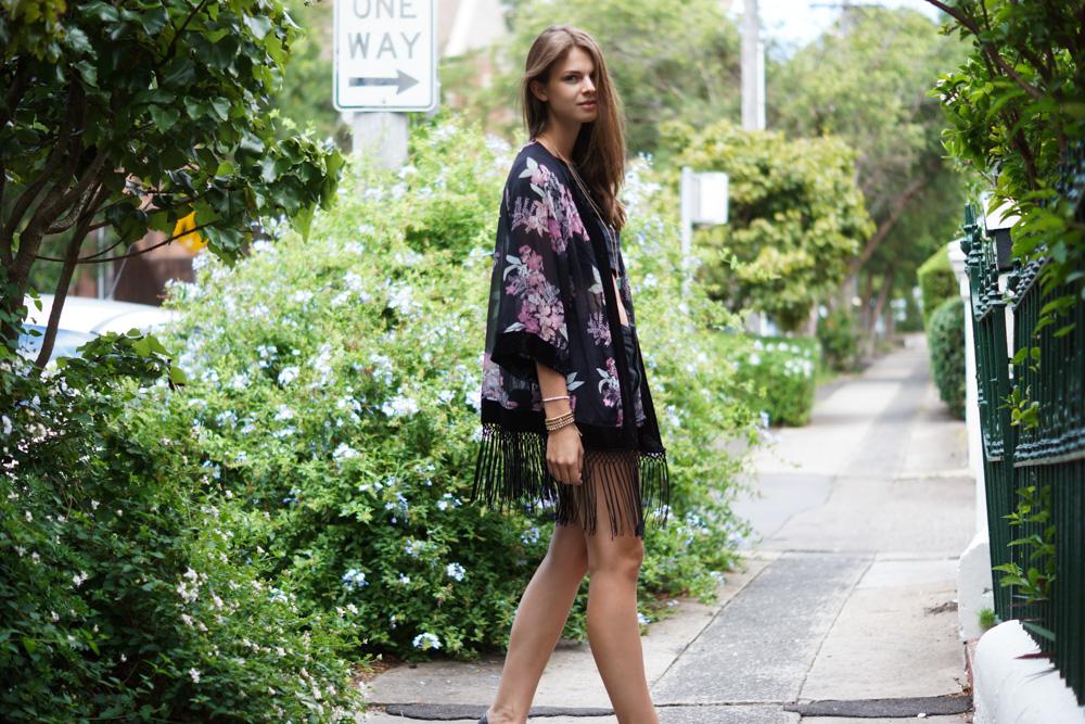 Pink and black Kimono