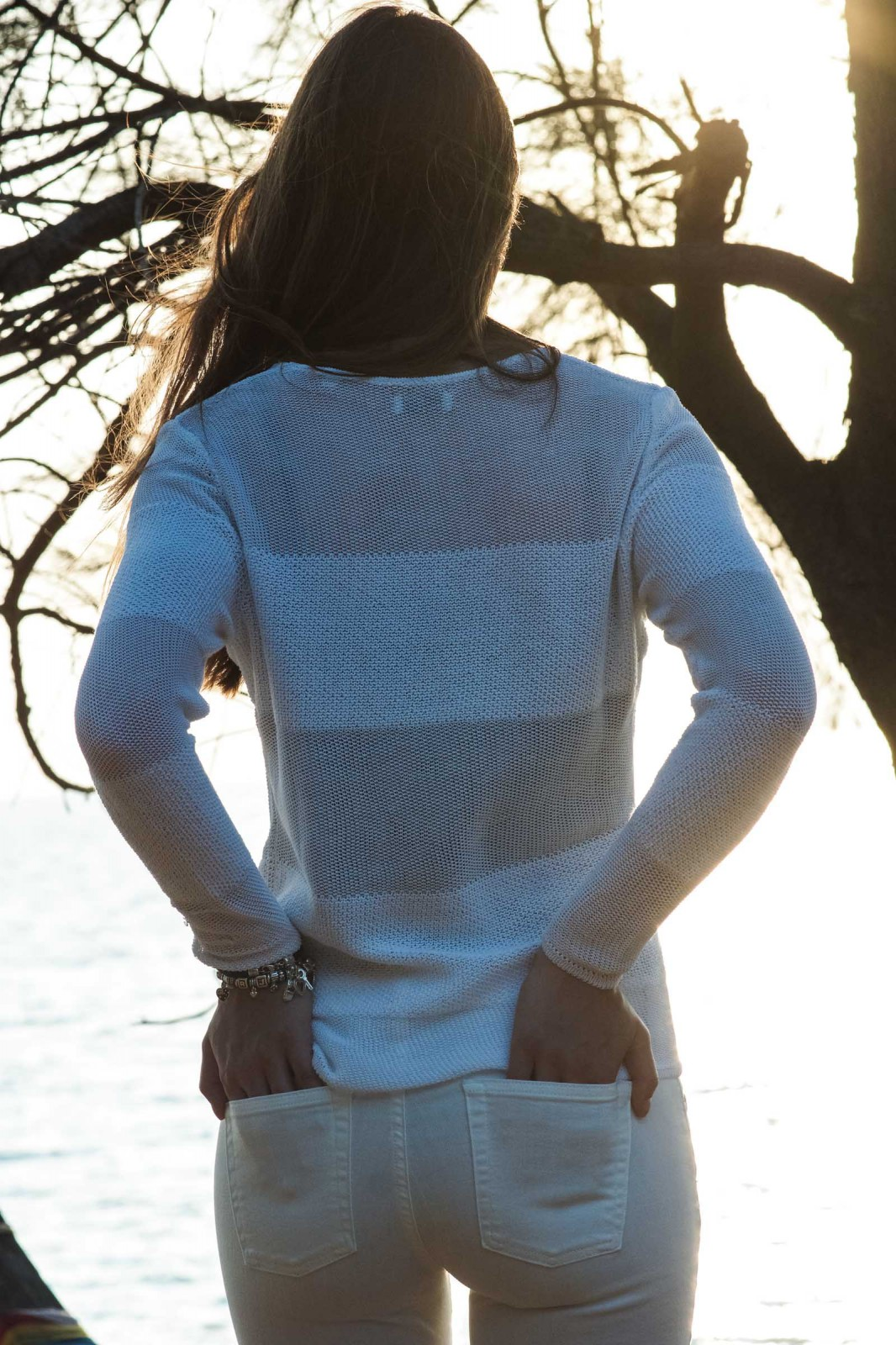 White Block Stripes Sweater