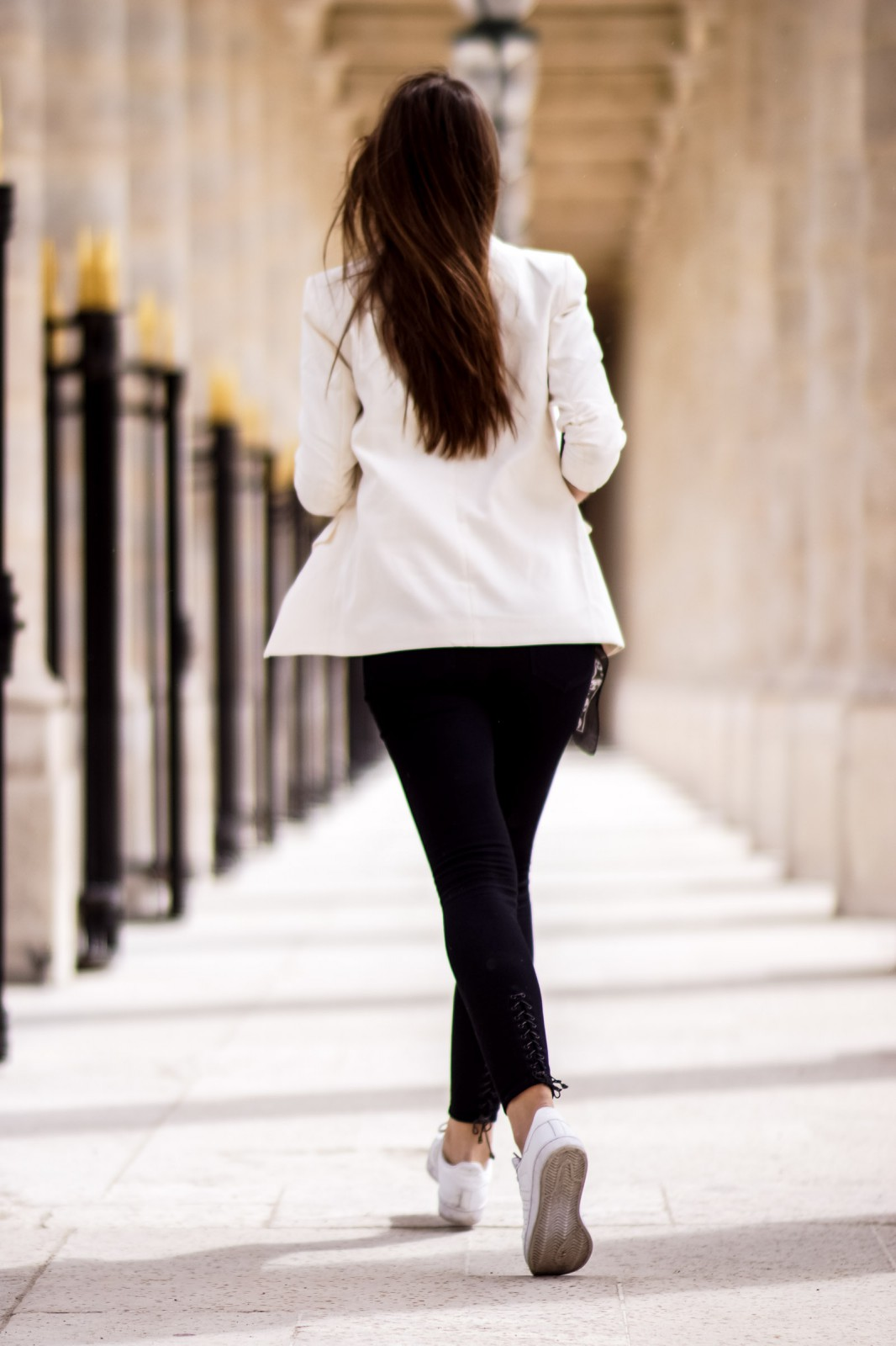 White Blazer and White Sneakers