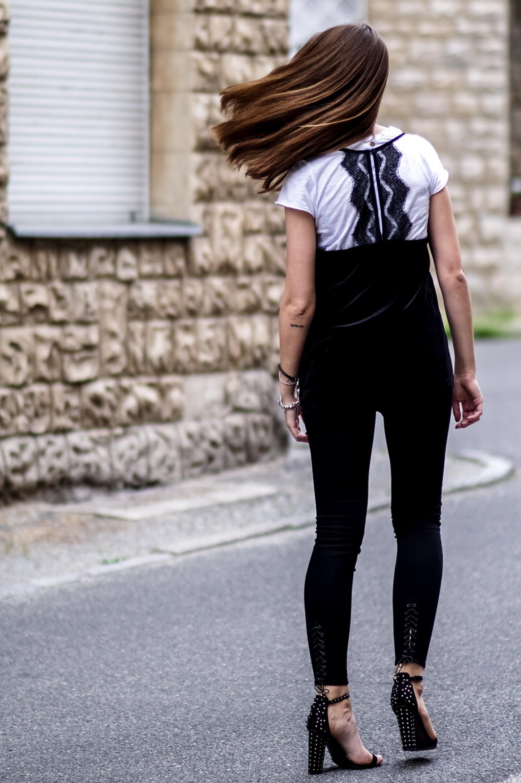 Jeans with Lace Up Details