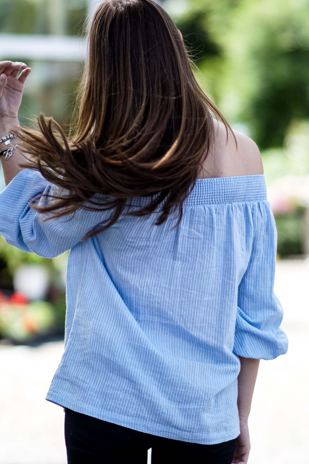 Baby blue off shoulder shirt