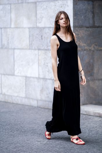 Black Maxi Dress and a Touch of Red