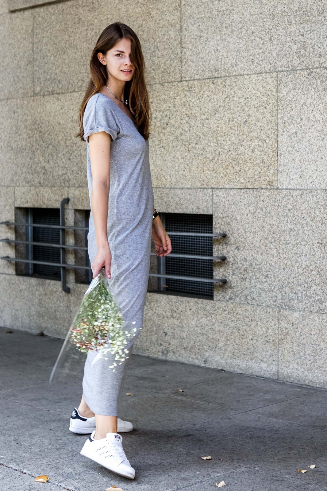 f5d3bd9dc40 Grey Maxi Dress and White Sneakers