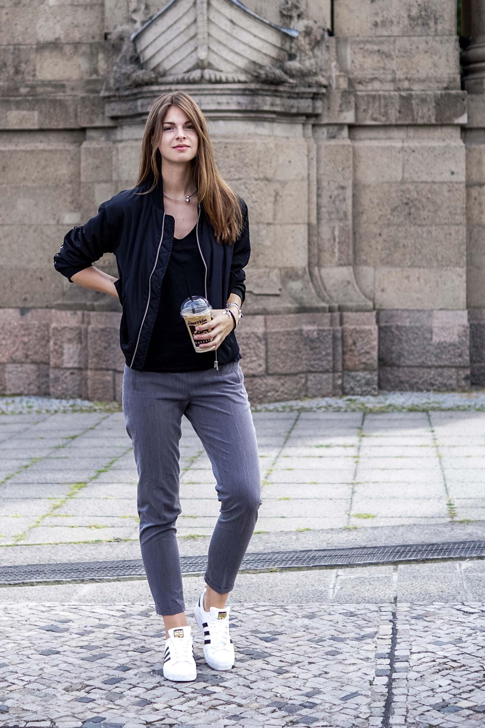 Grey Pants x white Sneakers