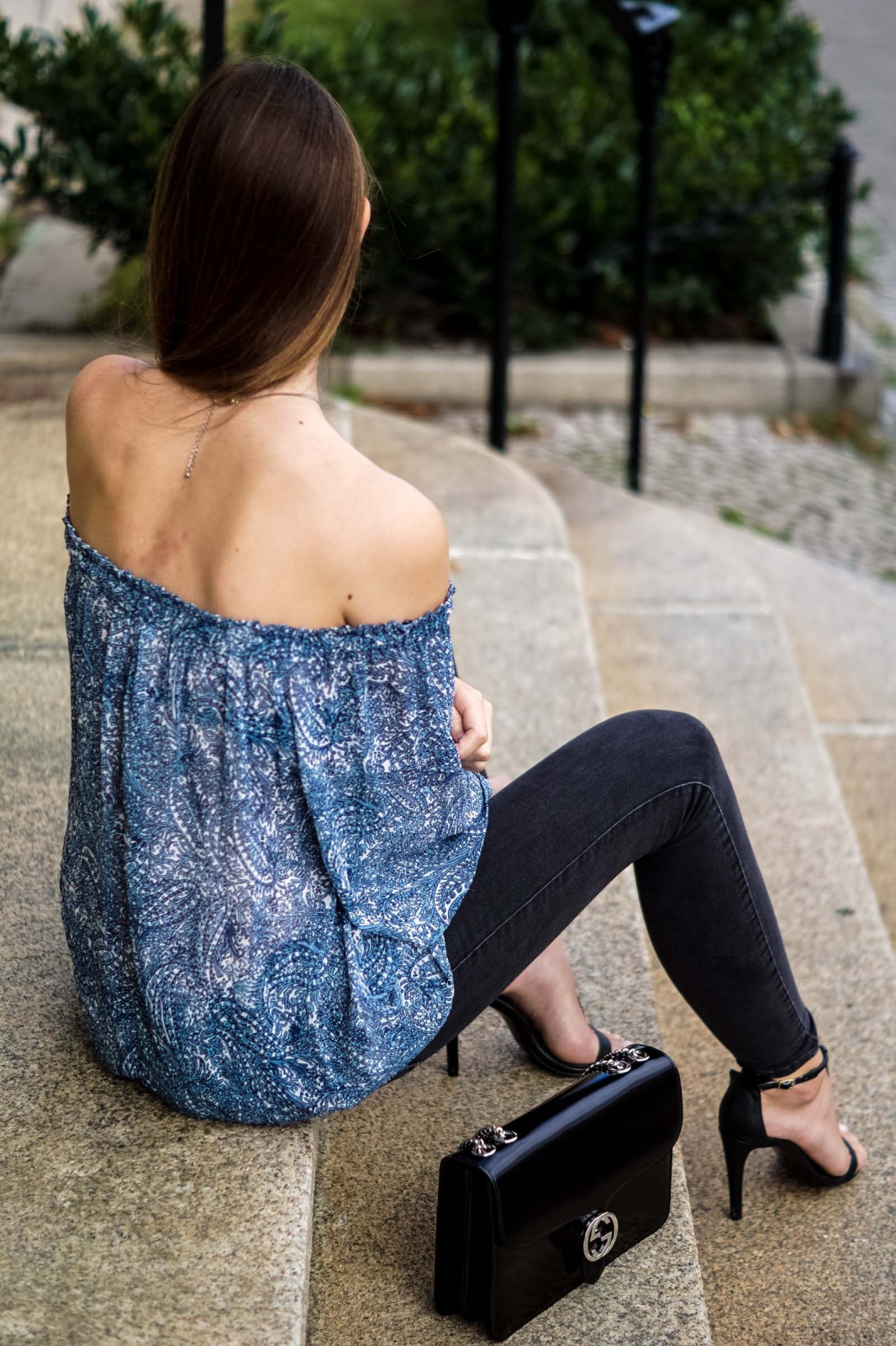 patterned off-shoulder shirt