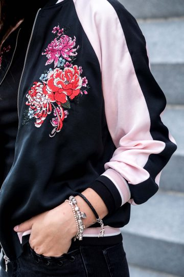 Satin Bomber Jacket with Print