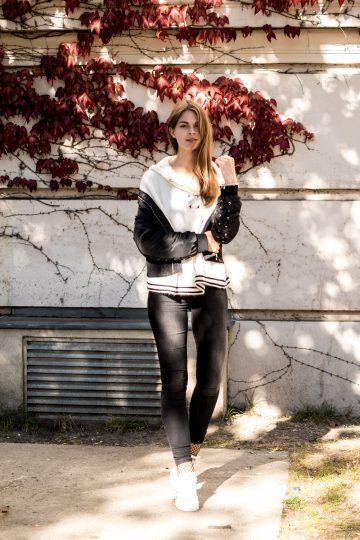 black white autumn outfit
