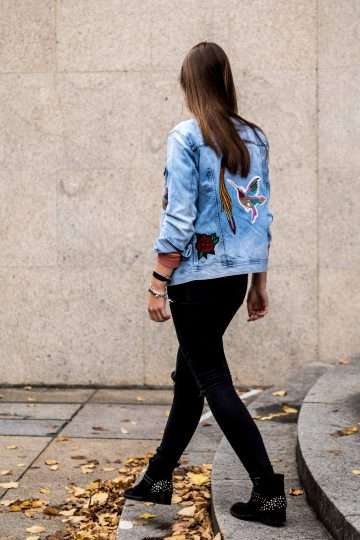 Bird patches and denim