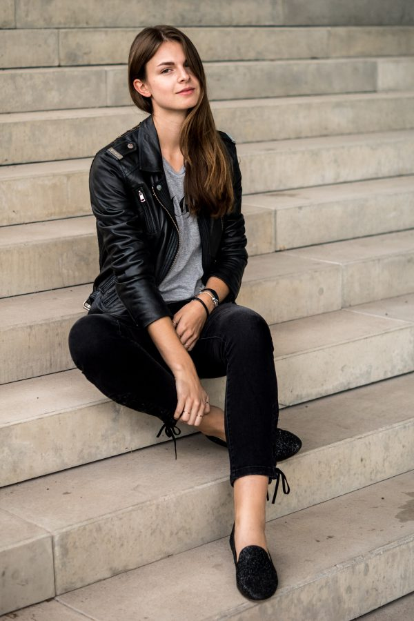 black jeans with lacing detail