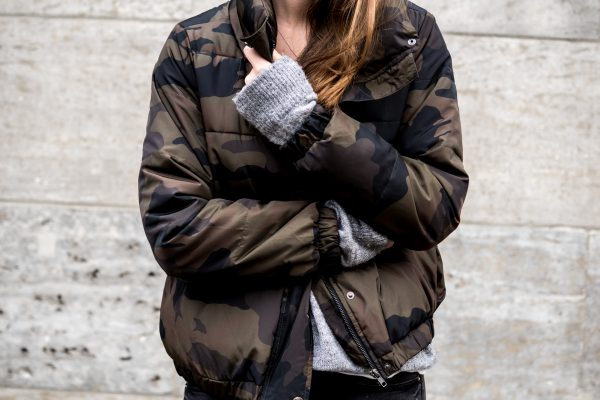 Jacket with Camouflage Print