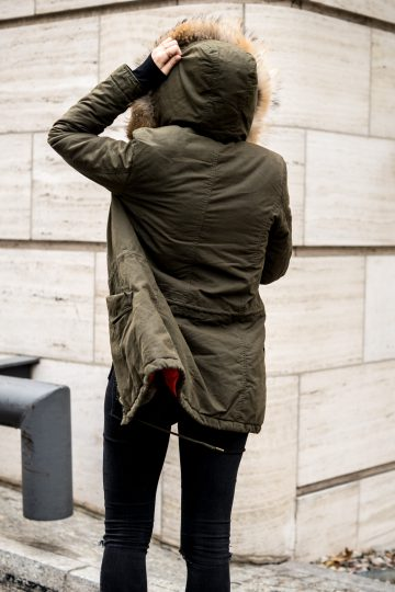 green autumn parka