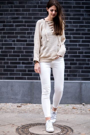 sweater with lace up detail