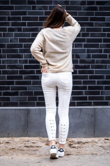 pants with lace up detail