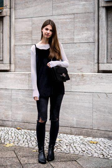 velvet dress over jeans