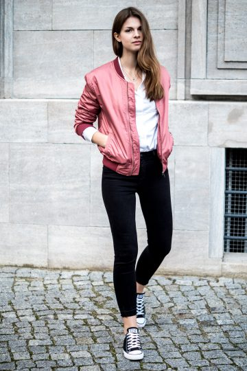Colour for a change: pink bomber jacket