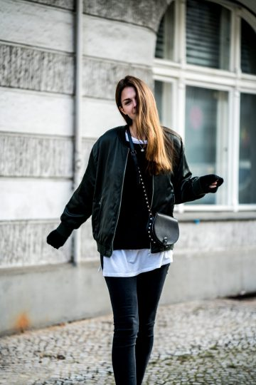 Green Bomber Jacket, Black Jeans
