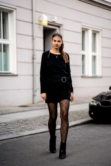 Black Skirt and Fishnet Tights