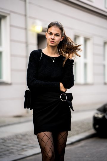 Black Skirt And Fishnet Tights Casual Chic Outfit