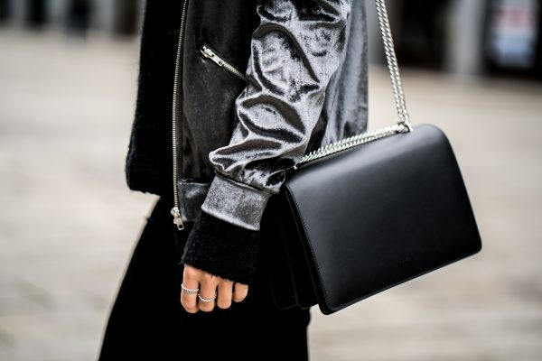 black Agneel bag with silver chain