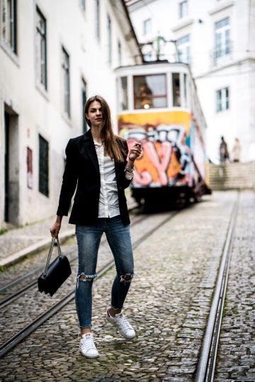 Taking the tram in Lisbon