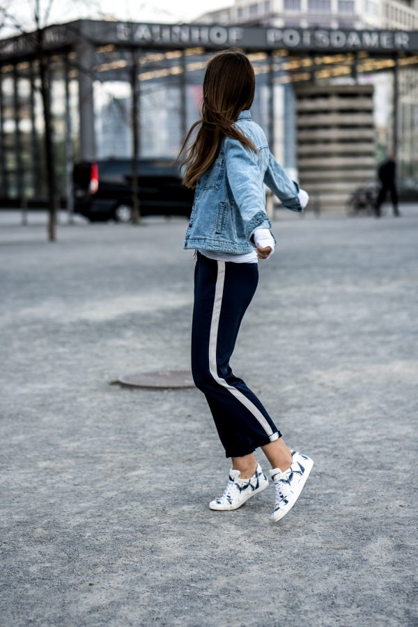 blue and white pants