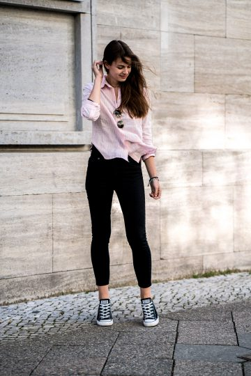 Pink Shirt and Black Jeans