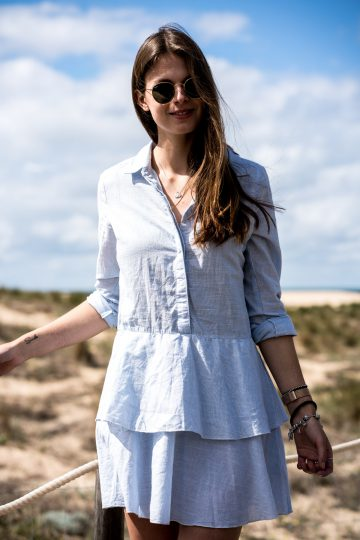 Shirt dress with fine stripes