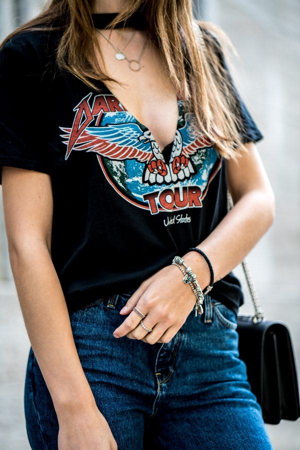 V-Neck Choker T-Shirt