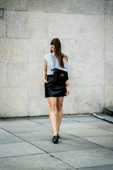 black leather skirt from Zara