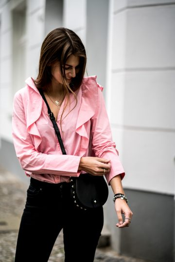pink Shirt with ruffles