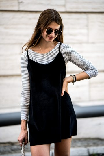 Striped Shirt x Black Dress