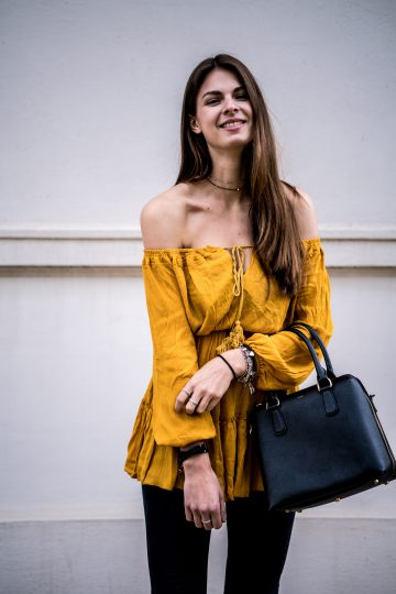 Yellow Dress and Black Jeans