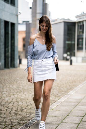 Cut Out Shirt and white Denim Skirt