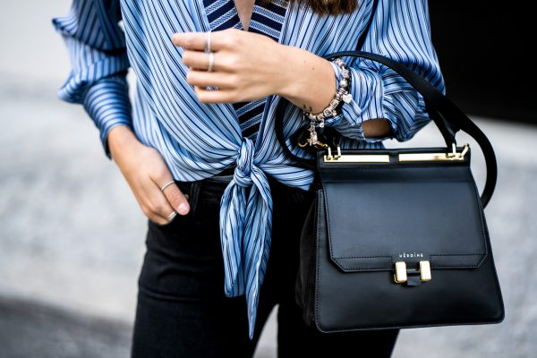 black bag with golden details