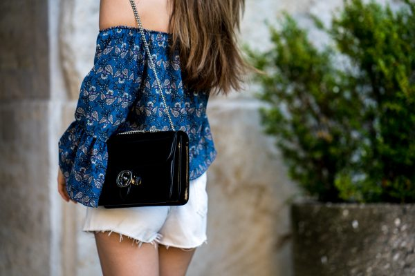 blue Off-Shoulder shirt