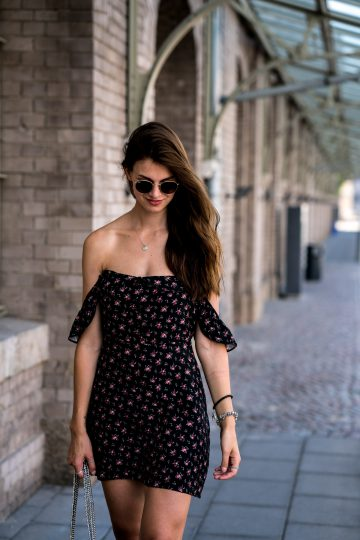 black summer dress with flower print