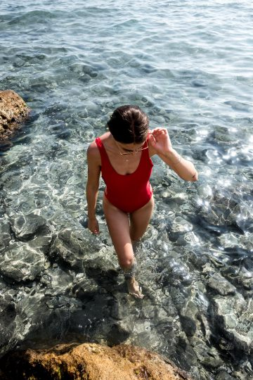 This summer we are wearing red swimsuits