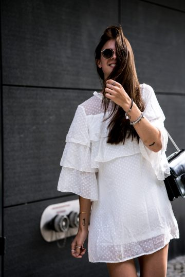 How to wear a White Dress with Ruffle Details