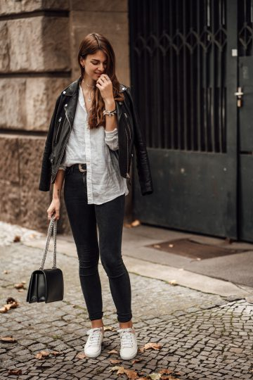 leather jacket casual schick styled